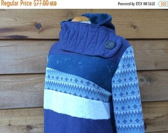 15% OFF SALE Hoodie Sweatshirt Sweater Handmade Recycled Upcycled One of a Kind AQUATIC Ladies Medium - Blue Retro Bleach Splatter Country B