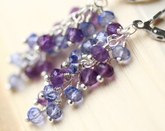 "Tanzanite Earrings, Amethyst Earrings, Sterling Silver - ""Cascade"" by CircesHouse on Etsy"