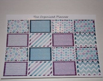 16 Glitter Half Box Stickers ~ Blues and Purples