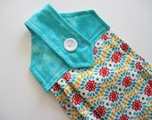 Hanging kitchen towel  button top quilted  cotton  top Pioneer Woman teal daisy chain oven door towel