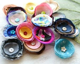 Fabric flowers, applique grab bag , handmade organza appliques, floral embellishments (20 pcs)- Grab Bag in Assorted Colors (mix set 342)