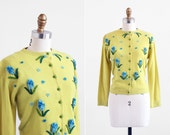 vintage 1950s cardigan / 50s sweater / Chartreuse Cardigan with Blue Felt Flowers