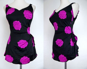 1970s Black Fuchsia Pin Up Swimsuit Roxanne Large Plus Size Backless Bra Skirt Low Hip Bathing Suit