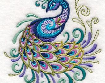 Peacock Towel - Peacock - Embroidered Towel - Flour Sack Towel - Hand Towel - Bath Towel - Apron - Fingertip Towel