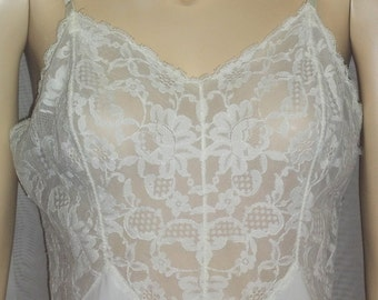 Vintage Vanity Fair Full Slip 34 White Lace Nylon Chiffon Lacy