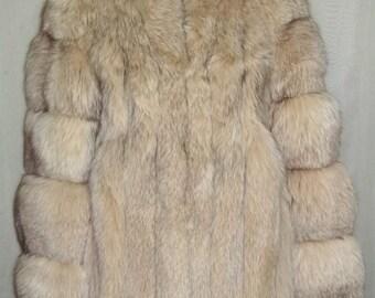 ON SALE Vintage Womens Genuine Fox Fur Jacket Coat Small Medium