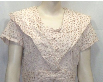 ON SALE Vintage 1950's Cutout Cut Out Lace Overlay Dress Medium Large