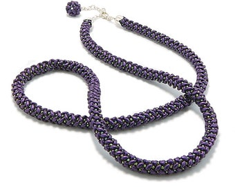 Handmade Bead Rope, Purple and Lime Rope, Long Beaded Rope, Gift for Her, Beaded Cord, Rope for Pendant