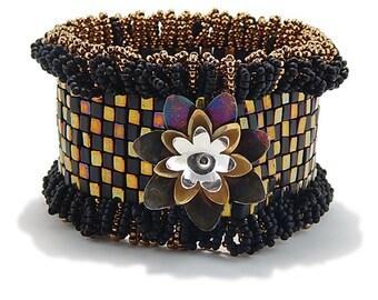 Flower Cuff Bracelet, Statement Cuff, Black and Gold Cuff, Gift for Her, Fashion Jewelry, Handmade Bracelet