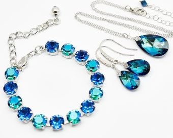 Blue Jewelry Set, Earrings Necklace Bracelet, Bridesmaids, Bridal Jewelry, Bermuda Blue Swarovski Crystal, White Gold Sterling, Victorian