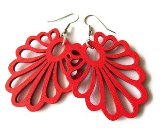 Modern Bright Red Wooden Fan Earrings | Hippie Boho Style Dangle Earrings for Women | Spring Summer Accessories | Lazer Cut Wooden Jewellery