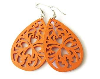 Light Weight Orange Wooden Filigree Teardrop Dangle Earrings, Bright Colourful Hippie Style Jewellery, Swirl Flourish Design Earrings