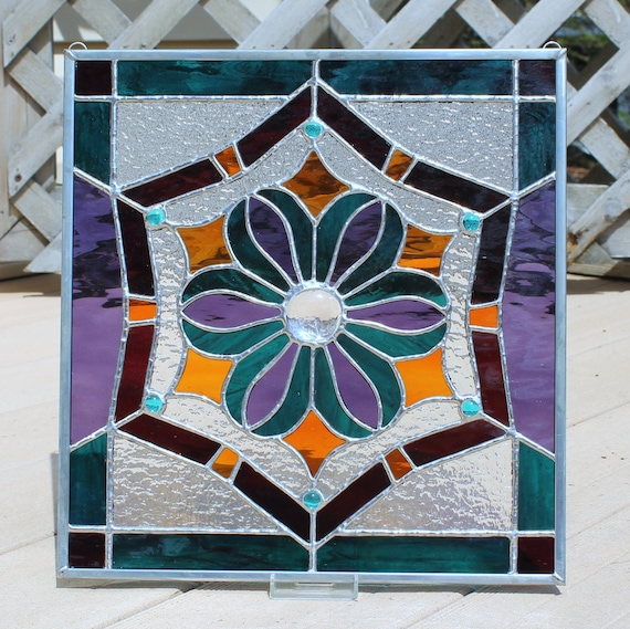 Jewel Tones Stained Glass Panel