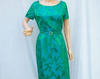 SALE 60s Blue and Green Floral Brocade Dress and Coat size Small to Medium Madmen