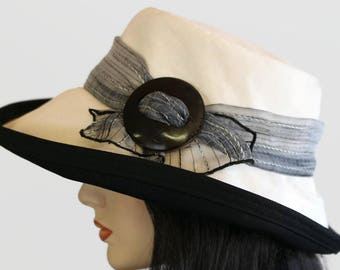 Extra wide brim sun hat uv summer hat sunblocker in organic cotton with shell buckle and textured scarf