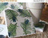 SALE Peacock Feathers Coasters - Absorbent Tile Drink Holders - Housewarming Gift