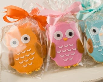 Owl Cookies - 25 Decorated Sugar Cookie Favors