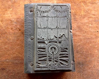 Antique PRINTERS BLOCK - Large lite Candle in window sill with winter scene outside