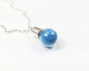 Glitter Globe Necklace - Wish Bottle Jewelry - Custom Color Necklace - Personalized Jewelry - Sterling Silver Necklace
