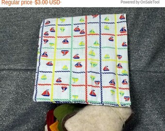 Sale 15% off Reusable Sandwich Bag, Sailboat Checks Print