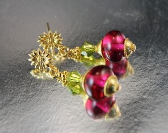The Farandole Gold Vermeil, Swarovski Peridot Bicone, Fushia Lampwork Glass Bead Earrings-Bali Gold Vermeil Bead, Caps and Flower Posts