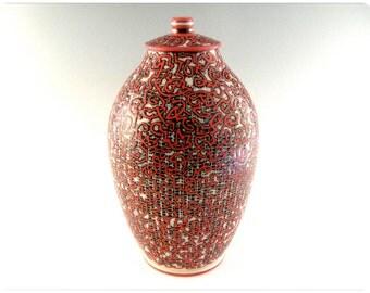 Etched Porcelain Urn/Vase/Covered Jar With Calligraphic Design