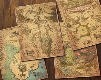 Pilgrim's Progress Maps - Hand Drawn Vintage Style  - Christian's Dangerous Journey - Printable Art - INSTANT DOWNLOAD