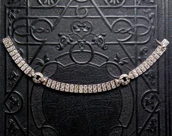 Art Deco Sterling Bracelet with Rhinestones.