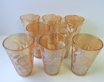 Peach Lustre Drinking Glasses With Flowers, Set of Eight
