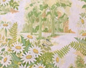 Full Bed Sheet Double Flat Sheet Daisies and Butterflies by Royal Cannon Vintage Bed Linens