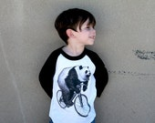 Black Friday SALE Panda on a Bike - Unisex Kids American Apparel Raglan Baseball Tee Shirt