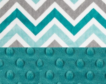 SALE Minky Baby Blanket Boy, Topaz Charcoal Gray Teal Chevron Personalized Baby Blanket,  Stroller Blanket // #SDB032