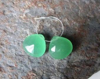 SALE Mint Serpentine faceted heart briolette- 1  pair