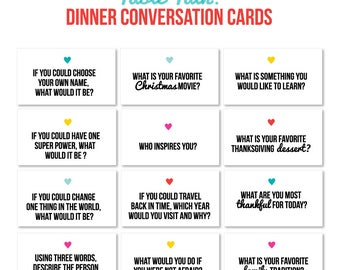 Mini Table Talk Cards  //  Family Discussion  //  Conversation Starter //  Questions for Kids  //  Digital Print  //  Instant Download
