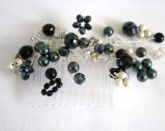 Beaded Bridal Hair Comb, Black and Silver Comb, Prom Comb, Crystal Headpiece