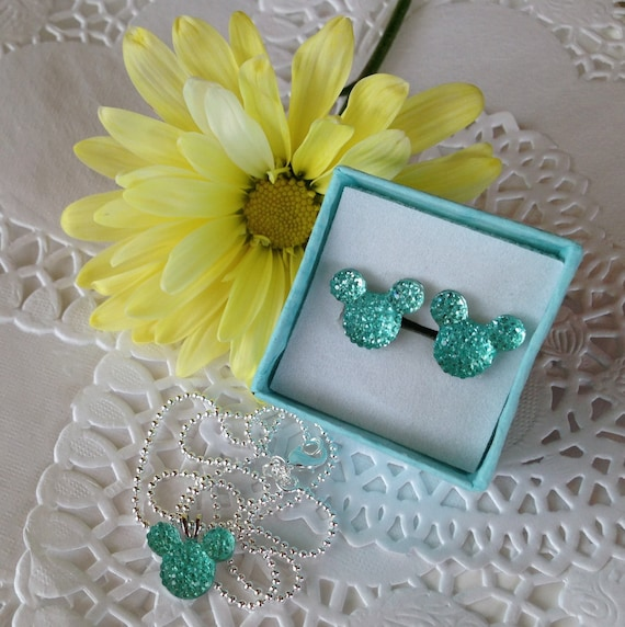 MOUSE EARS Necklace and Earrings Set for Themed Wedding Party in Dazzling Light Aqua Acrylic