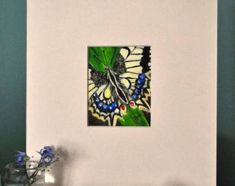 Acrylic painting of butterfly totem, matted for a 8 x 10 inch frame, small format painting