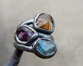Multi Stone Ring with Rough Citrine, Amethyst, and Blue Apatite for Abundance, Meditation, and Spiritual Guidance, Size 6.75