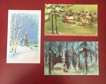 Vintage Set 3 Beautiful Christmas Greeting Cards with Snow, Church, Tree, Village, Forest and more - New Old Stock