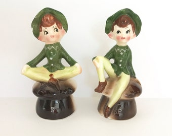 Vintage Salt Pepper Shakers Elves Pixies Mushrooms Enesco Japan