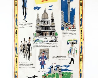 RARE Tea Towel This Is LONDON Miroslav Sasek England Travel Souvenir
