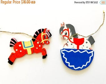 HOLIDAY CLOSEOUT 50% OFF Vintage Christmas Ornaments Wooden Horses Carousel Rocking Horses