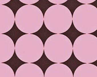 Last 2 1/4 yards, Michael Miller Pink and Brown Disco Dot, End of Bolt, Cotton fabric, Quilting fabric, apparel fabric, out of print