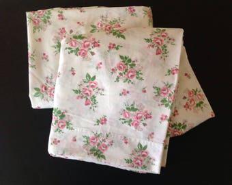 Vintage Fieldcrest Pink Roses Queen Flat Sheet Plus Fabric