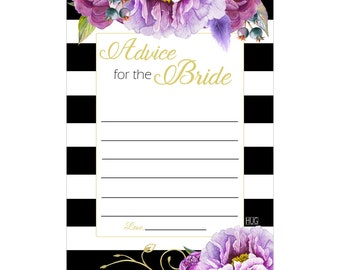 Digital Printable Advice for the Bride for Bridal Shower with Purple Flowers on Black ADB001