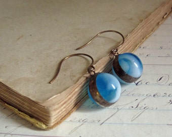 Glass Marble Earrings Blue White Recycled Jewelry