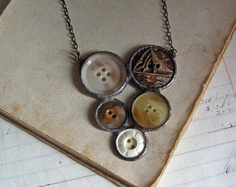 Sail On Button Bib Necklace One of a Kind Soldered Jewelry