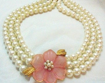 Vintage 3 Stand Faux Pearl Necklace with Lucite Pink Flower by Napier