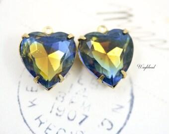 Vintage Heart Shaped Set Stones Rhinestone pendants 1 Ring Brass Settings Blue Topaz 14mm