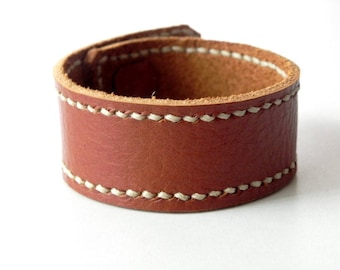 Leather Cuff Leather Bracelet Leather Bangle with Bronze Button in Tan